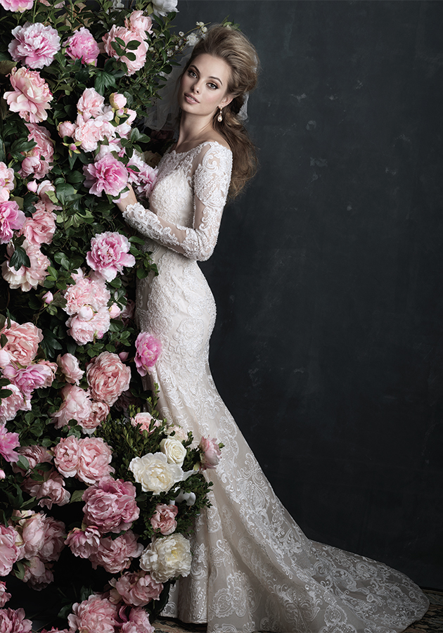 Allure Couture Style C406 | Sheer lace overlays the deep sweetheart neckline of this sleeved sheath. $3,980, Claire's Fashions, Wilmington, Del., www.clairesfashions.net
