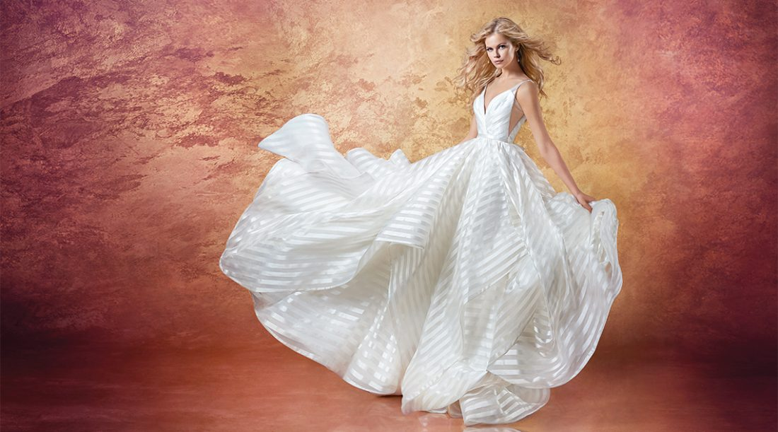 Hayley Paige Style Decklyn | This anything-but-ordinary ball gown is modern and playful. The ballerina bodice pairs perfectly with the full cascading skirt. $2,860, Jennifer's Bridal, Hockessin, Del., jennifersbridal.com