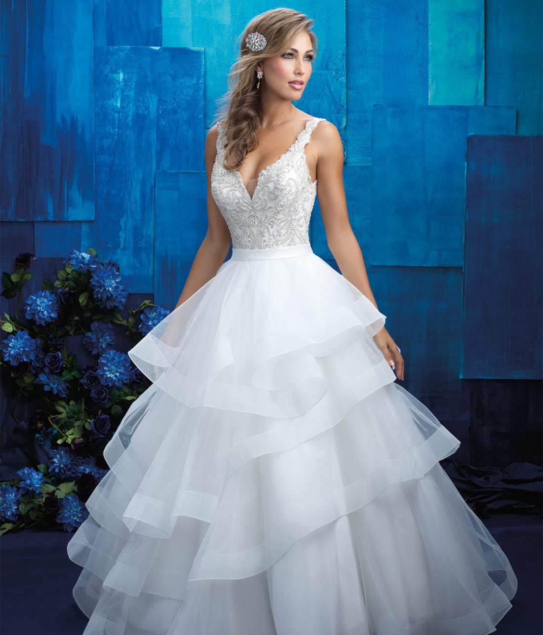 Allure Bridals Style 9418 |This fairytale frock features dreamy organza and tulle, with a fitted bodice swathed in sparkling beaded embroidery. $1,572, Brides 2 Be by Hope Mitchell, Rehoboth, Del., www.brides2bebyhope.com