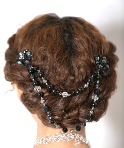 Add a bit of drama to your look with black onyx Austrian crystals and a mix of Swarovski, freshwater and acrylic pearls. Flower hair pins, $48, www.chernealtovise.com, Cherné Altovise, Wilmington, Del. (J Mitchell Photography)