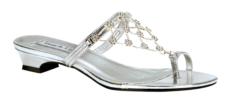 Marcella Sandal By Touch Ups | The modest heel makes this sandal perfect for a beach wedding. The rhinestone accents add a delicate touch. Available in gold and silver, $68, Jan's Boutique Inc., www.jansboutique.com
