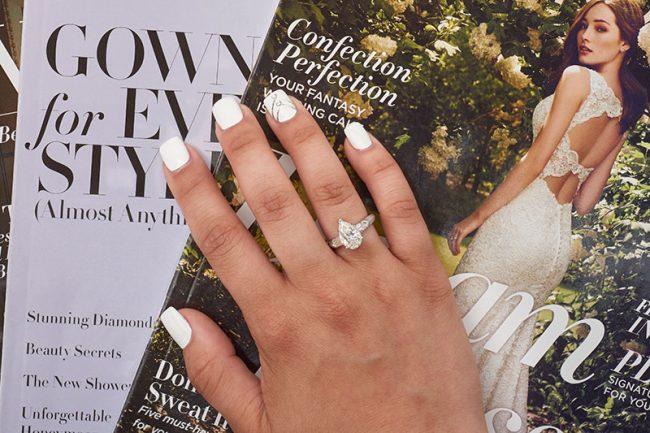 2-carat pear-shaped  diamond set in platinum. $20,000, by Michael  Goldberg, Indulgence Jewelers,  Greenville, Del.,  www.indulgencejewelers.com. Polish: OPI Alpine Snow with diamond and silver strip.