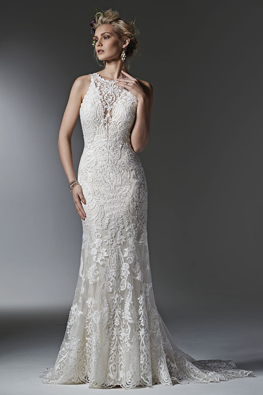 Timeless And Elegant This Lace Sheath Wedding Dress Features A Modern Illusion Deep V Halter Neckline Stunning Scalloped Plunging Back