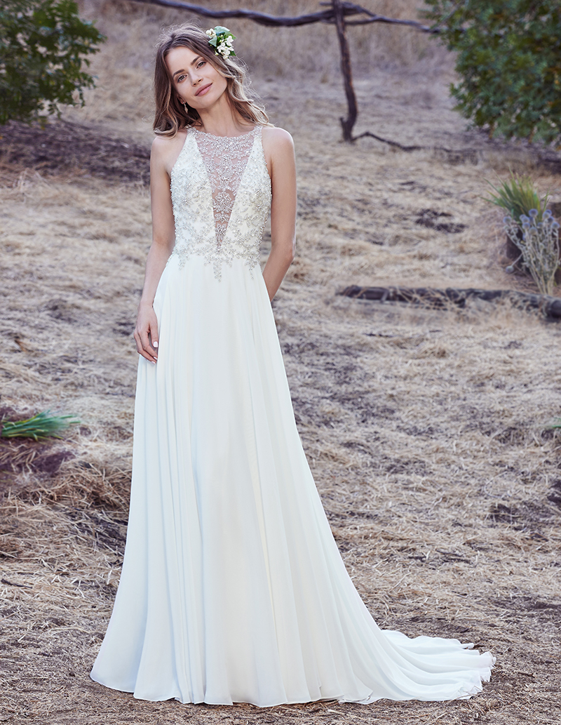 This Y Fit And Flare Wedding Dress Features Frosted Alençon Lace Liqués On Net With An Eye Catching Wide Scalloped Hemline