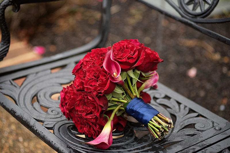 Red flower wedding bouquet